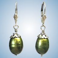 Golden green color enhanced freshwater cultured pearls sterling silver earrings