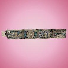Vintage Sterling Silver Abalone inlay panel bracelet