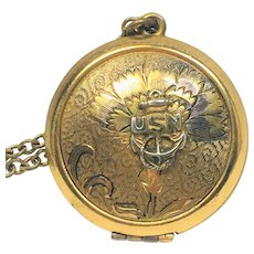 Vintage U.S.Navy sweetheart locket and chain.