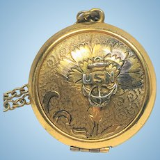 Vintage U.S.Navy sweetheart locket and chain.