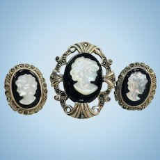 Vintage sterling silver and marcasite with onyx/mother of pearl cameo pendant and earrings