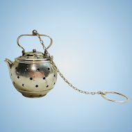 Antique Sterling silver teapot shaped tea ball