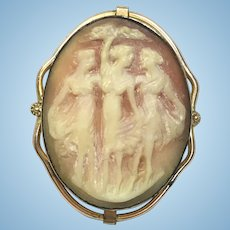 Vintage Three Graces hand carved cameo pin
