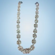 Vintage hand cut crystal necklace with sterling silver engraved clasp