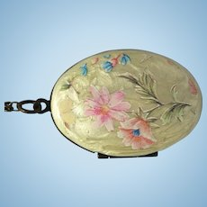 Vintage flower painted bronze locket and chain