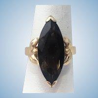 Vintage 14 karat marquise Smokey quartz ring