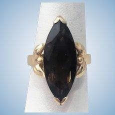 Vintage 14 kt marquise Smokey quartz ring