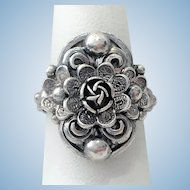 Antique 800 silver ring with repousse'