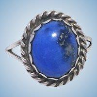 Vintage Kewa Pueblo Lapis Lazuli Sterling silver ring signed