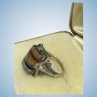 Victorian striped agate ring in Sterling silver