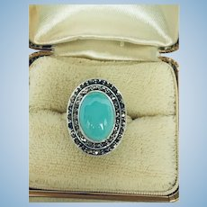 Vintage natural Turquoise and marcasite sterling silver ring