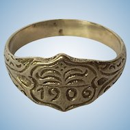 VIntage 1906 hand engraved base metal ring