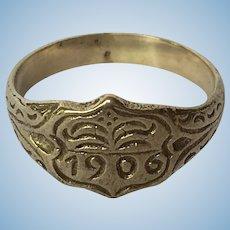 VIntage 1906 hand engraved base metal ring