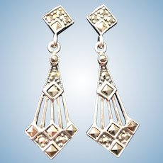 Vintage Art Deco marcasite and sterling silver earrings.