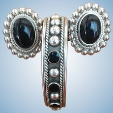 Vintage sterling silver and onyx earring and bracelet set