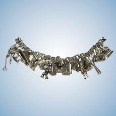 Vintage Sterling to 800 silver charm bracelet