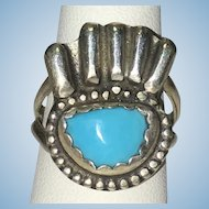 Vintage signed sterling Turquoise bear claw ring