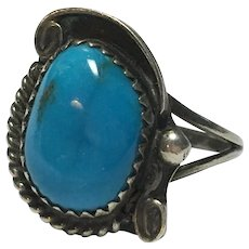 Vintage Native American Turquoise sterling ring, signed