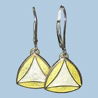 Guilloche enamel yellow and white cufflink on 14 kt lever backs
