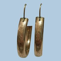 Victorian revival rolled gold hand engraved hoop earrings