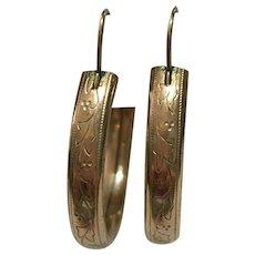 Vintage rolled gold hand engraved hoop