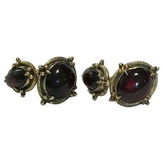 Victorian Garnet cuff links in vermeil