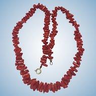 Vintage 20 inch scarlet natural coral necklace