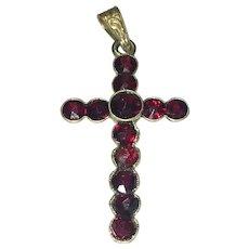 Victorian Bohemian bezel set garnet cross