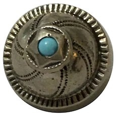 800 silver and Turquoise button hand engraved