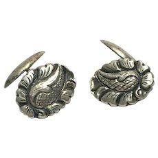 Antique 800 silver repousse cuff link set