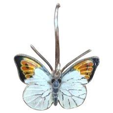 Vintage hand enameled butterfly earrings silver tone