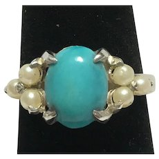 Ladies custom made Turquoise and cultured pearl sterling ring