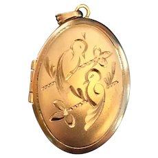 """Vintage"""" Love birds"""" gold filled locket"""