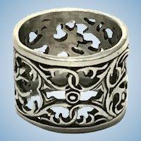 Vintage Sterling silver hand carved 15 mm wide band