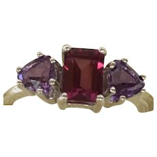Custom Rhodolite garnet and amethyst sterling silver ring