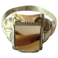 Victorian banded agate ring in Sterling silver