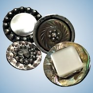 Vintage collection of four abalone and steel cut brights buttons