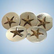 Five vintage star buttons