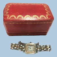 Vintage ladies Cartier Panthere watch 18kt and steel with 18 kt diamond bezel
