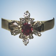 Vintage Ruby and diamond ring 14kt gold
