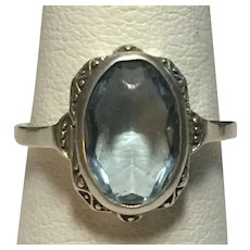 Vintage faux aquamarine in 835 silver ring