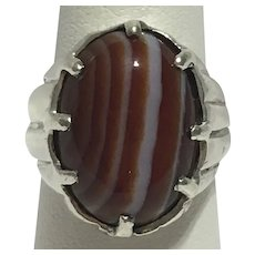 Vintage orange and white banded agate ring is sterling silver