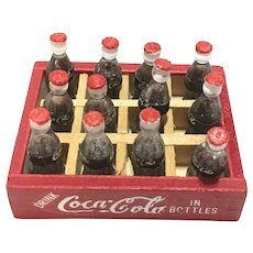 Vintage doll house miniature case of Coca cola bottles