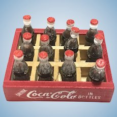 Vintage doll house miniature case of Coca cola bottles