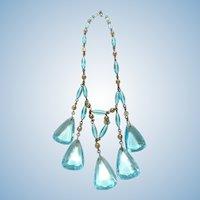 Art Deco Aqua blue glass necklace
