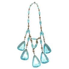 Art Deco Aqua blue glass necklace