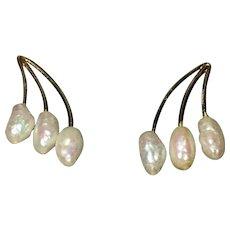 Vintage Rice pearl 14kt gold earrings in original box