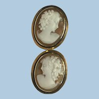 Vintage 14 karat gold hand carved shell cameo earrings
