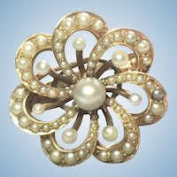 Victorian natural seed pearl brooch made into a 14 karat gold