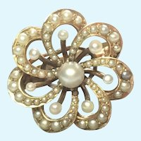 Victorian revival natural seed pearl 14 karat gold ring